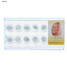 JAVRICK 10 шт./кор. 2 мм стоматологический цветной кристаллический зуб, модные украшения, драгоценные камни декор с коробкой(Китай)