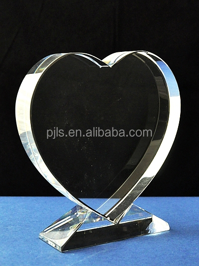 Custom Simple Blank Heart Shape Crystal Trophy For Love Souvenir