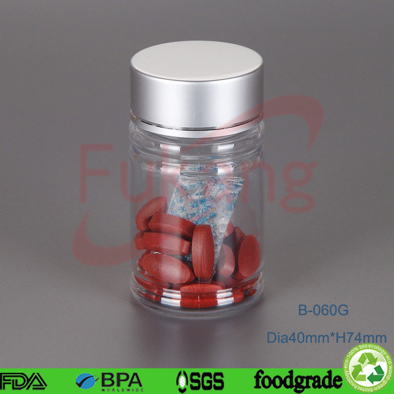 60ml clear plastic softgel bottles, small pet herbs bottle, round plastic supplement capsule bottles wholesale China
