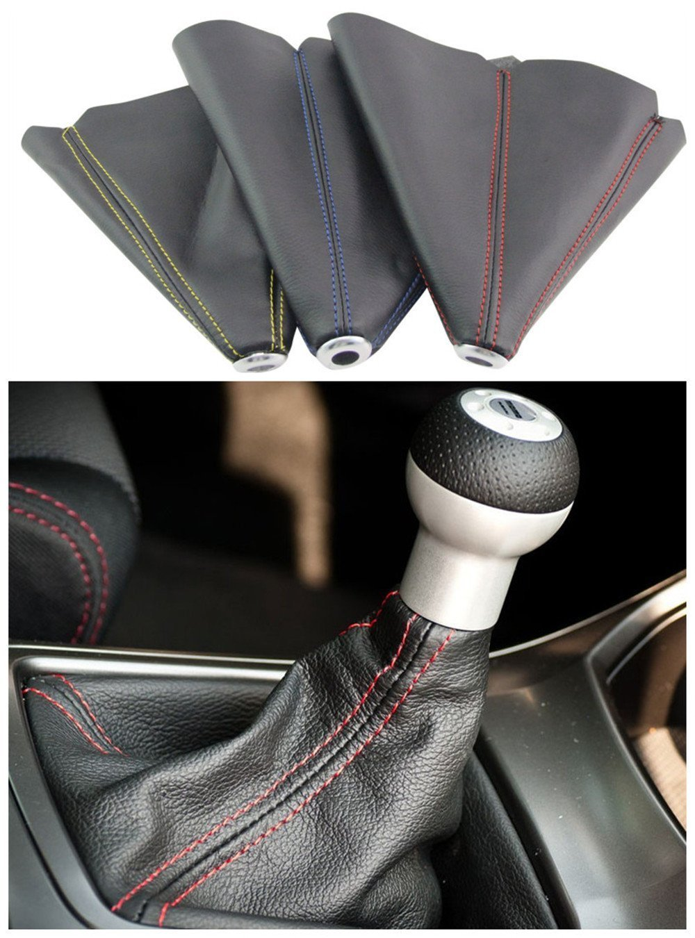 PVC Shift Boot for Manual Automatic Car/Auto Gear Shift Knob Cover MT/AT Universal Type(Red)
