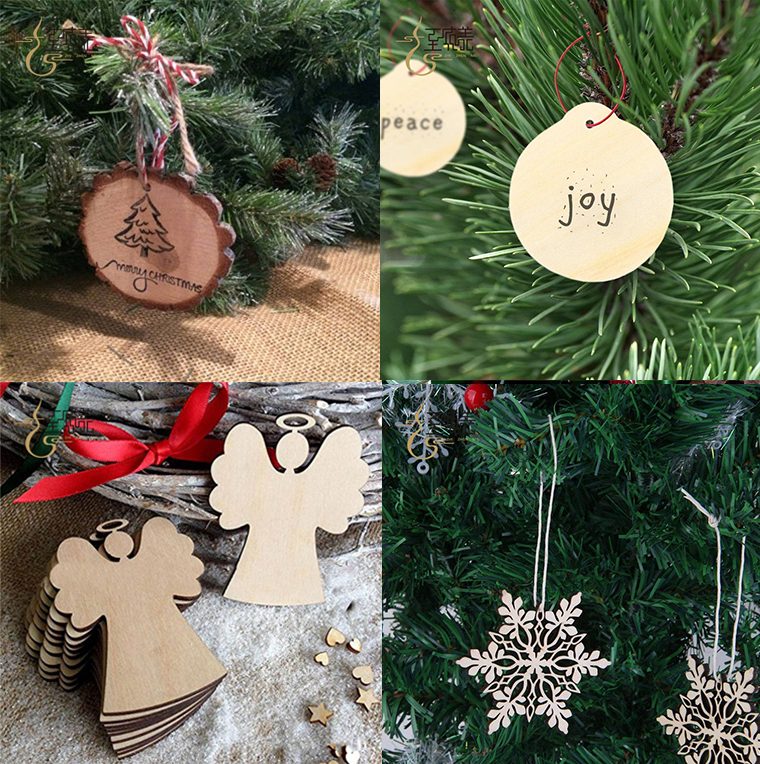 Superior wooden christmas xmas tree ornaments hanging sign decoration