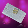 2014 New arrival luxury shiny powder glitter rhinestone bling wallet case for iphone5c