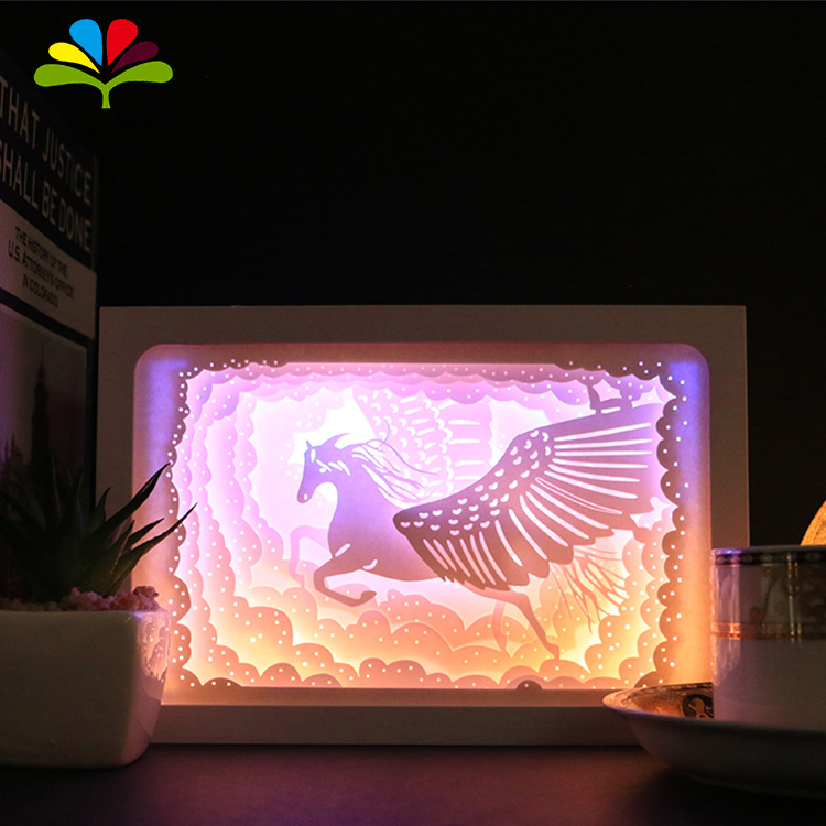 Custom Unicorn 3D Stereoscopic Paper Carving Lamp Light Shadow Box