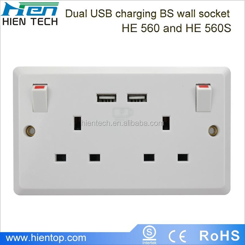 Double 13A socket outlet UK type with power switches