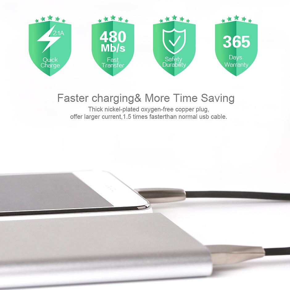 APPACS New Metal Head Usb Charge Flat Cable 3D Zinc Alloy Micro Usb Data Cable