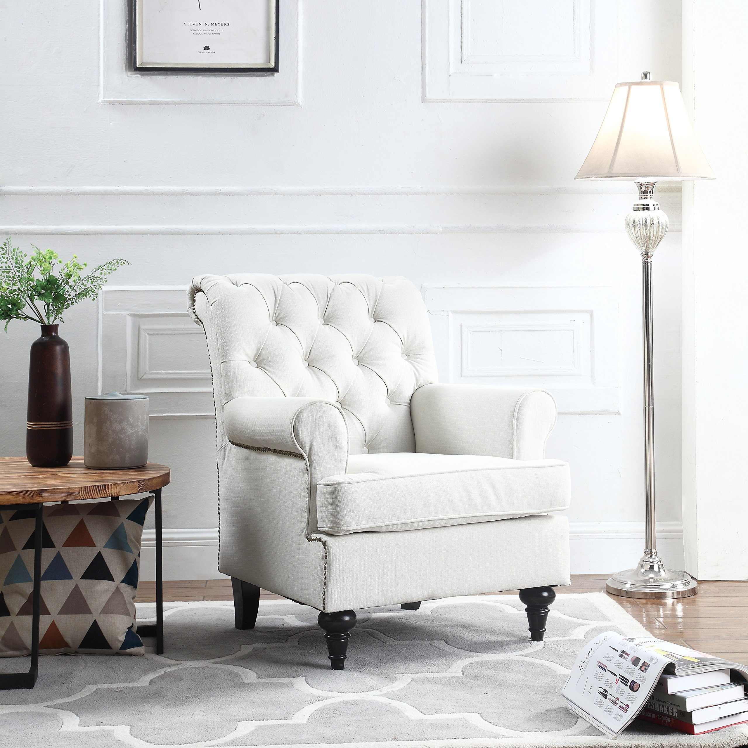 Classic Tufted Scroll Arm Chesterfield Linen Fabric Accent Chair, Living Room Armchair with Nailheads (Beige)