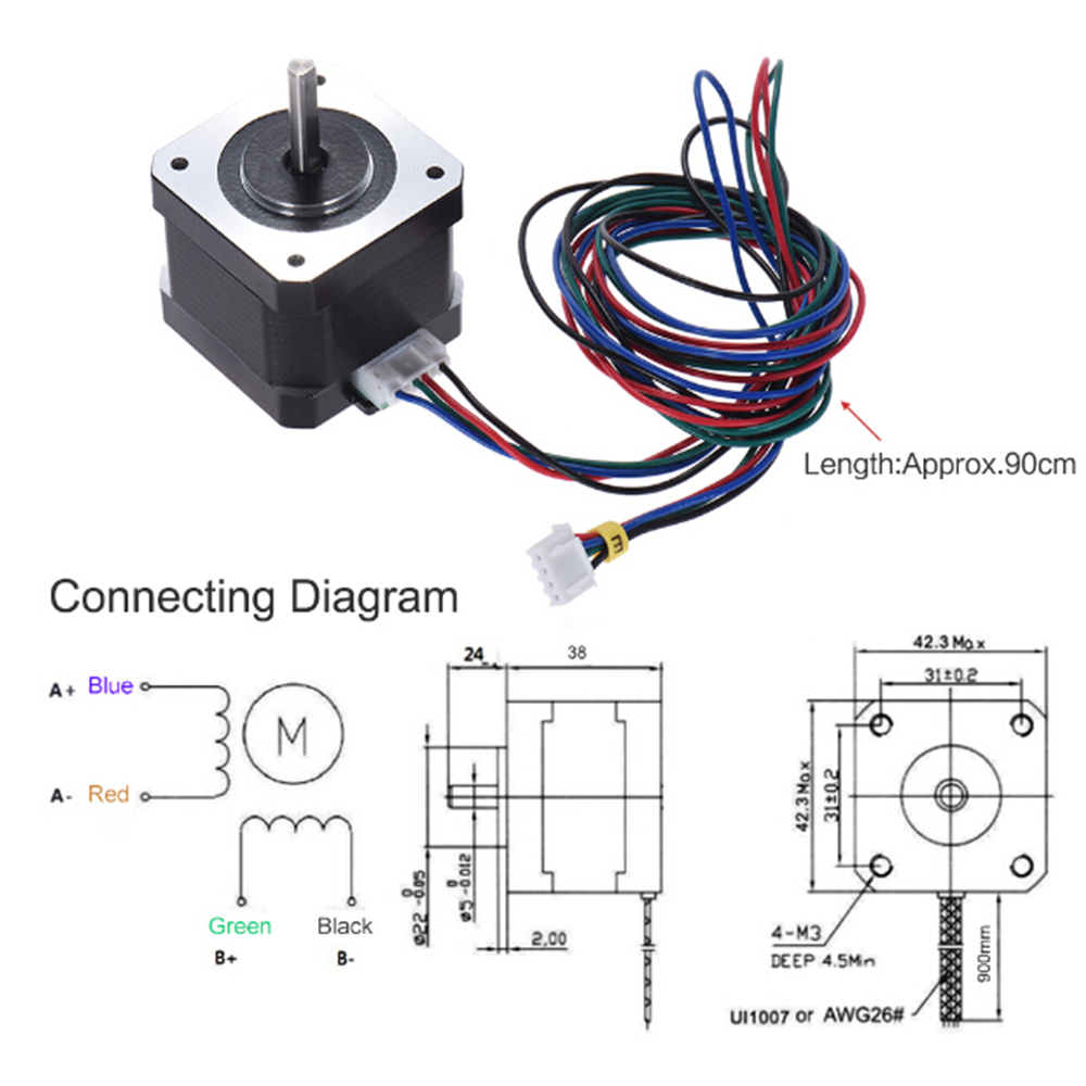 Anet 3d Printer 42 Stepper Motor 168a Two Phase High Torque Hybrid Cnc Electronics Wiring Diagram 1 12