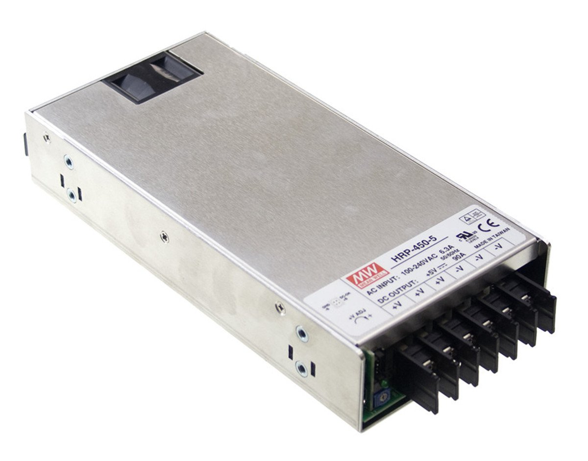 """Mean Well HRP-450-24 Power Supply, Switching, PFC Enclosed, 451.2 Watt, 24 VDC, 18.8 A, 8.9"""" L x 4.1"""" W x 1.6"""" H, Silver"""