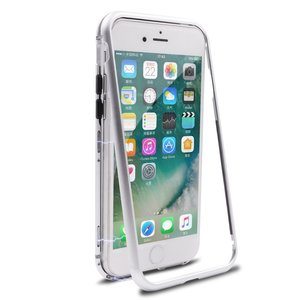 2018 Build-in Magnetic Adsorption Metal Frame Magnet Case for iPhone 8 Metal Cover Tempered Glass Magnetic Case for iPhone 7