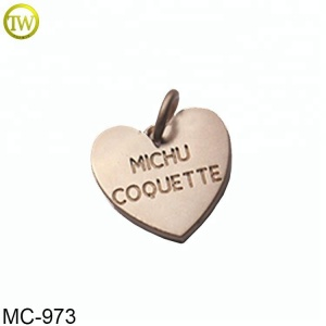 Matte gold heart shape custom brand logo pendent for bracelet/necklace