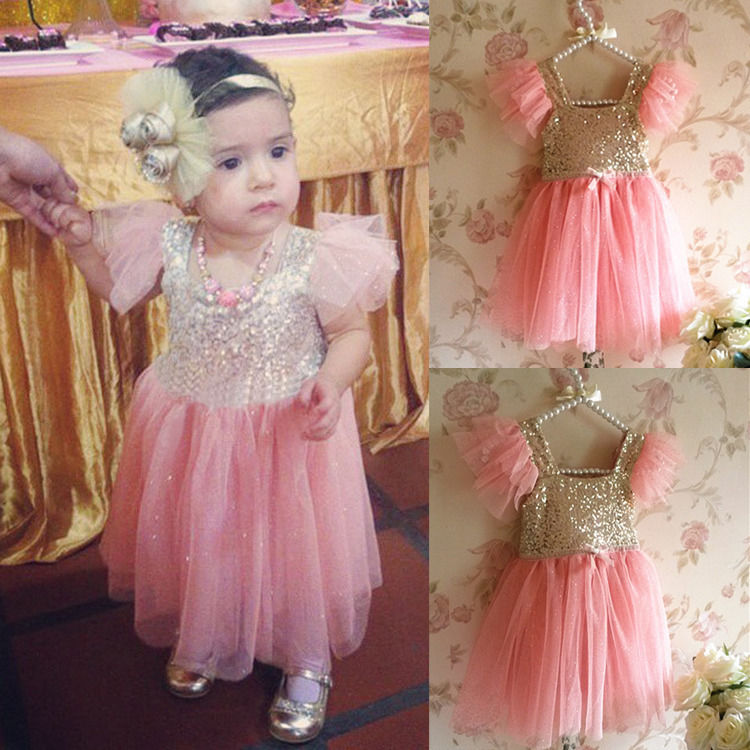 Baby Girls Bling Pinks Princess Party Tulle Tutu Gown Lace font b Fancy b font font