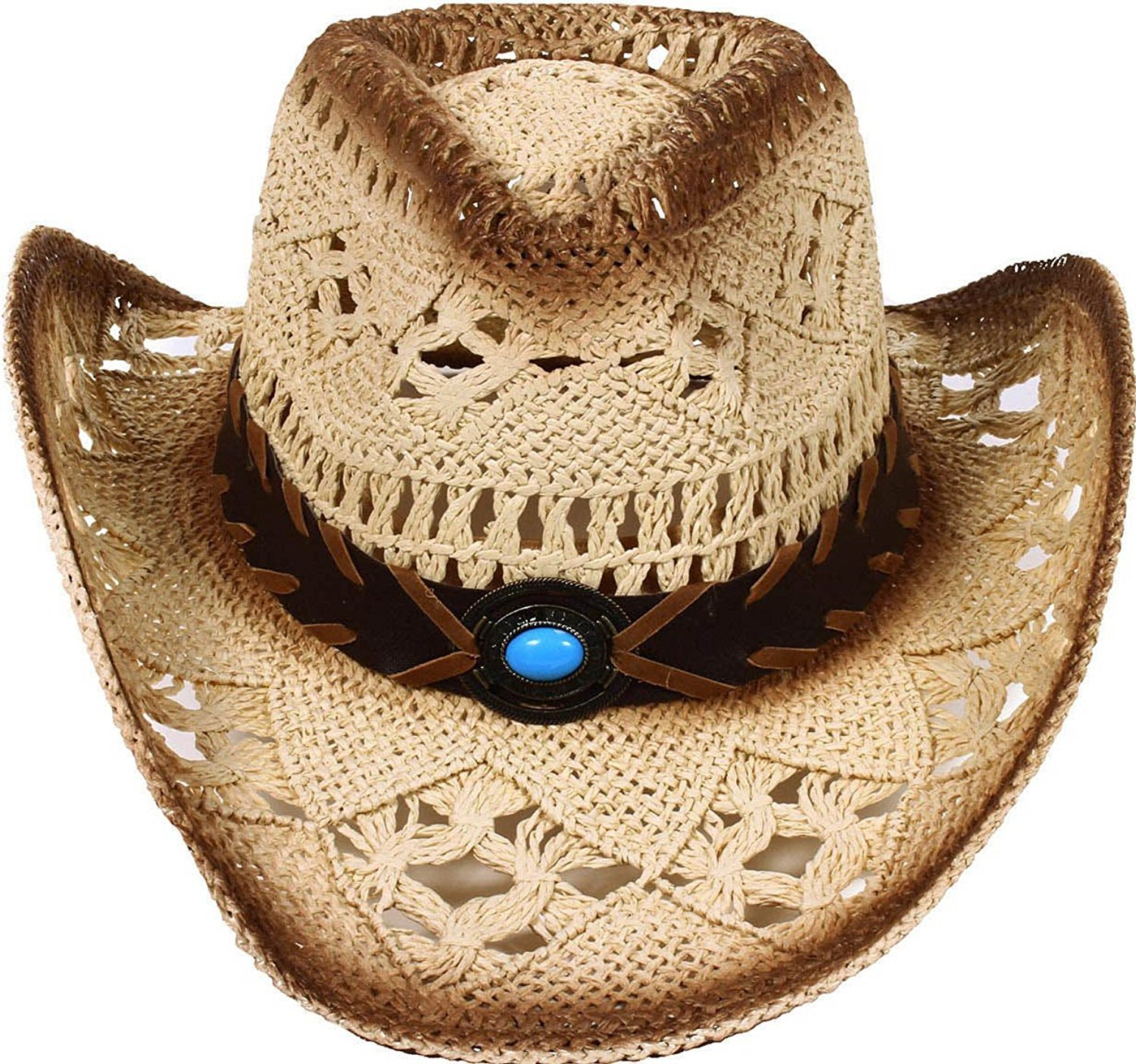 9f4af0d9846 Buy Simplicity Unisex Vented Straw Summer Cowboy Straw Hat in Cheap ...