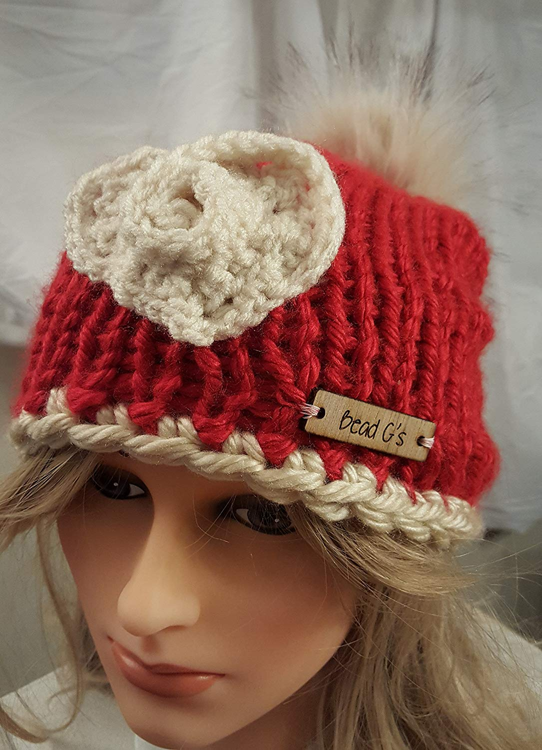 Get Quotations · Valentine pom pom chunky red hat 3eae5a6f563c