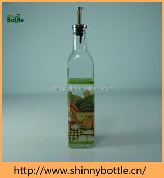Square Bottom Oil And Vinegar Glass Bottle With Spout Oil Dispenser