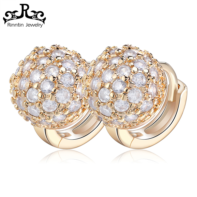 Rinntin Round Ball Shaped Design Gold Arabic Earrings With AAA CZ Crystal for Women Wedding Romantic Jewelry RIME30