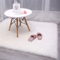 Top quality small round cute grey faux sheepskin fur home stool area rug