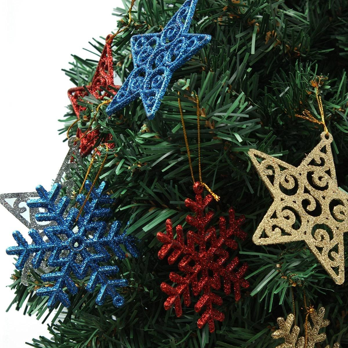 Saver 6pcs Xmas Christmas Tree Deocration Star Snowflake Christmas Hanging Decoration