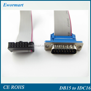 customized 2.54mm IDC flat cable to DB15 Male for computer led panel flat ribbon cable connected etc