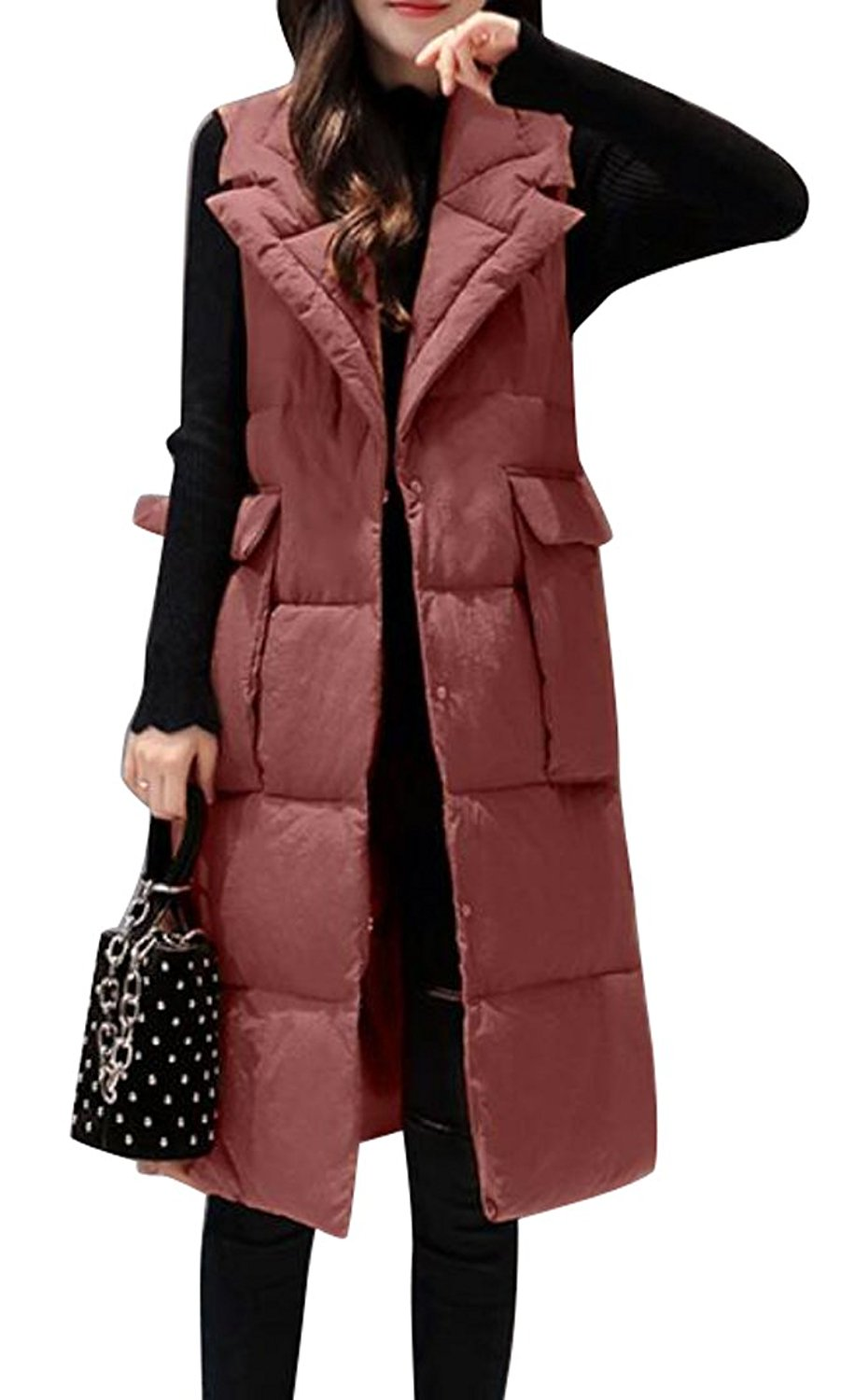 c6529517a56 Get Quotations · SYTX Women Winter Long Down Quilted Vest Outdoor Puffer  Vest Jacket