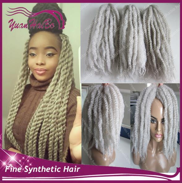 Stock Hot Sale 20inch #silver synthetic marley braid 60gram afro kinky twist braiding for black women