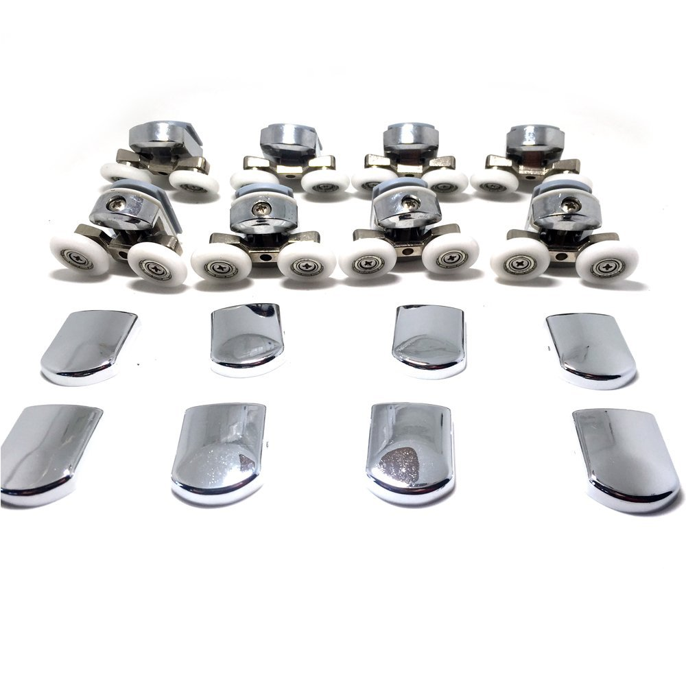 Replacement Shower Door Fixing Wheels in Chrome - 4x Top & 4x Bottom - Fits Glass 4-6mm