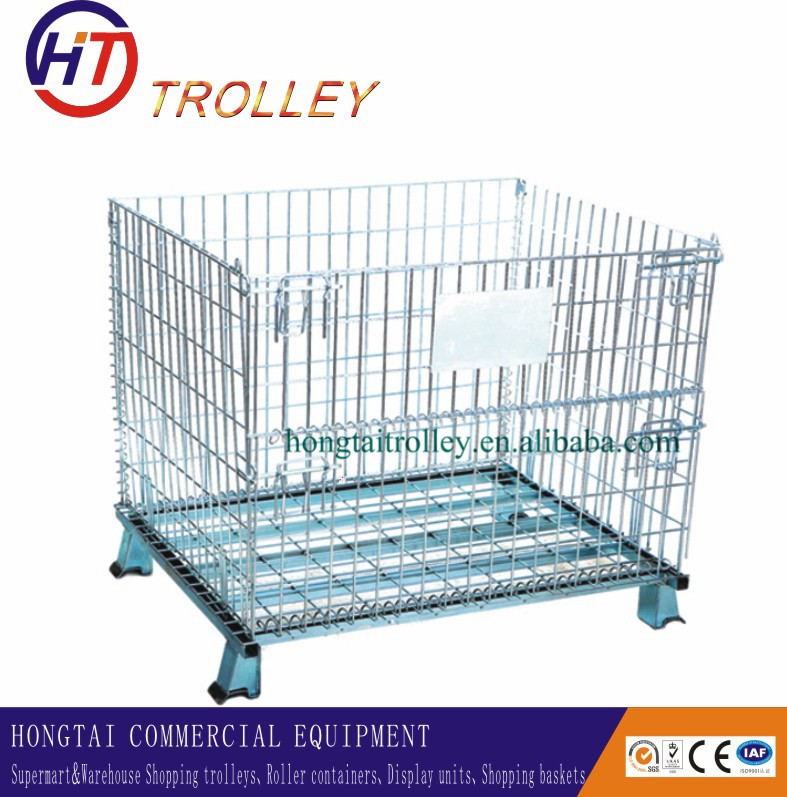 Galvanized Returnable Large Cage Collapsible Metal Wire Basket With ...