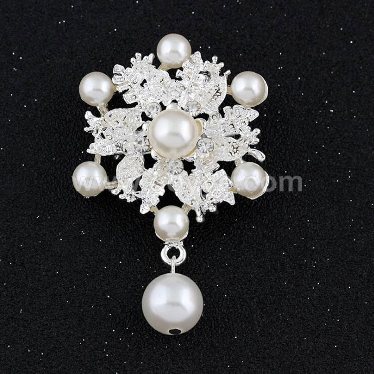 Wholesale custom elegant style cheap fashion women pearl flower brooch