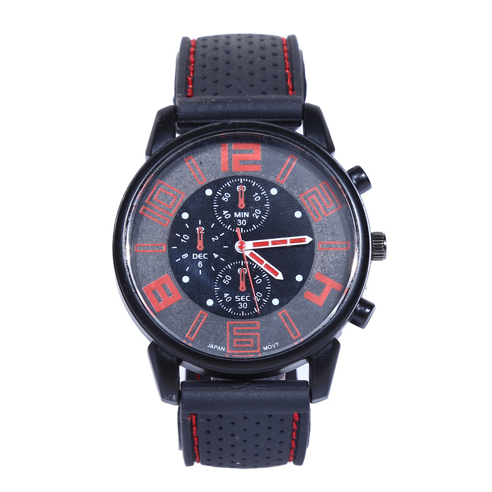 Classic Silicone Gel Watch Men's Sports Quartz Racing Men's Watch Style