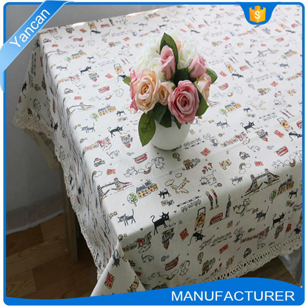Lovely Cotton Linen Material Fabric Painting Table Cloth for Kids
