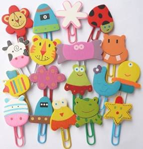 Cute Wooden Cartoon Bookmark Paperclip-set of 18 PCS (Wooden 18 PCS)