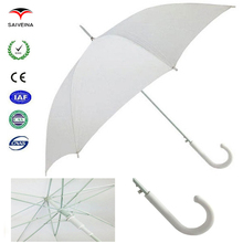 hot sale high quality oem chaste white straight umbrella by China umbrella factory
