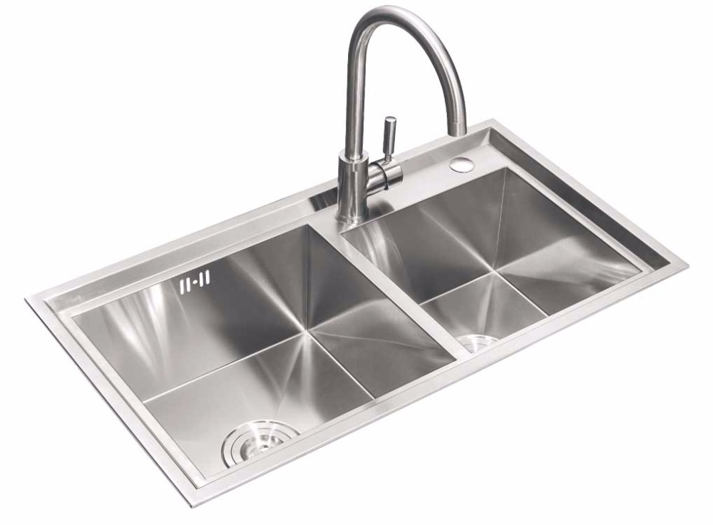Stainless Steel Kitchen Sinks With Two Faucet Holes