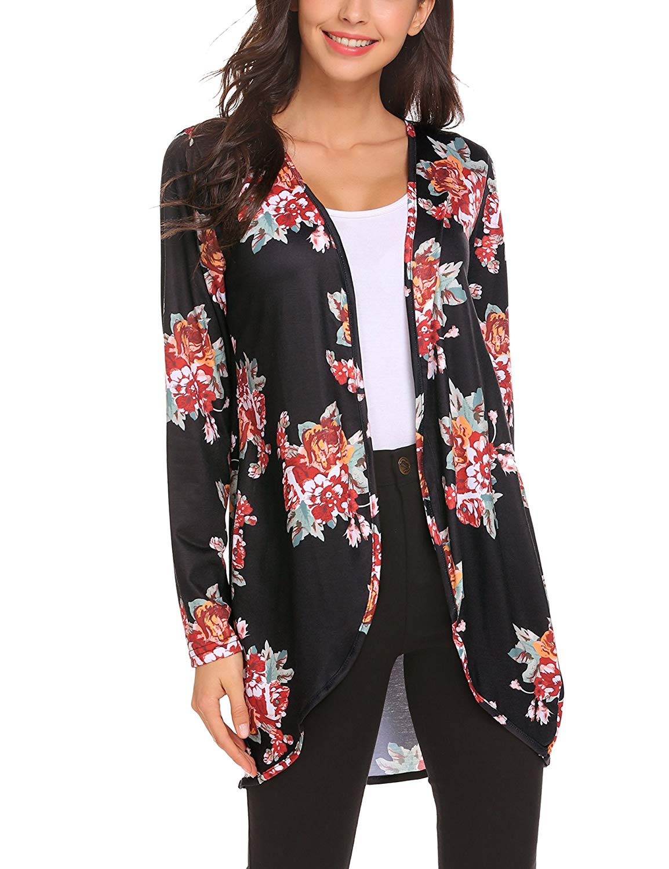 Venena Womens Kimono Cardigans Floral Blouse Boho Kimono Cardigans Casual Coverup Tops