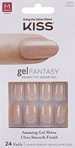 "**NEW 2015** Kiss Nails GEL FANTASY ""KGN04-N"" (CHARMED LIFE) Medium Design Nails w/Adhesive Tabs & Glue"