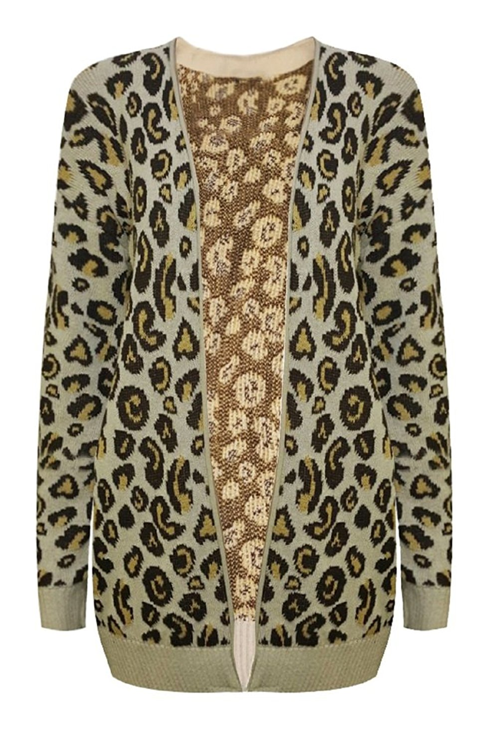 RM Fashions Womens Open Front Animal Print Knitted Leopard Cardigan