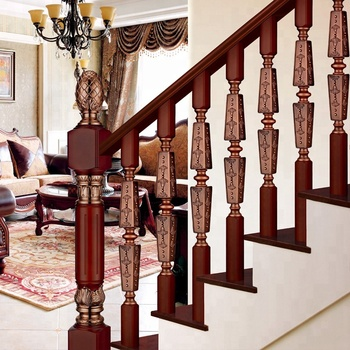 Antique Curved Stair Aluminium Baers Railing Kits With Solid Wood Square Pillar