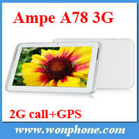 Wholesale price Ampe A78 3G 7inch Tablet PC Qualcomm 1.2GHz TWO Camera GSM Phone Call GPS WiFi Bluetooth OTG