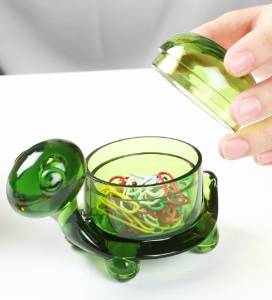 (German Design) Turtle Clip Holder. Cute/adorable Gift, Colorful Acrylic and Stores Dozens of Paper Clips to Make Your Desk Look Tidy and Clean. Great Gift for Both Homes and Offices. (Green)