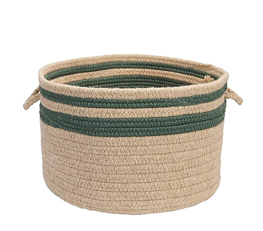 "Colonial Mills Home Decorative Cabin Stripe Storage - Myrtle Green 18"""" x12 Storage Basket, NEW"