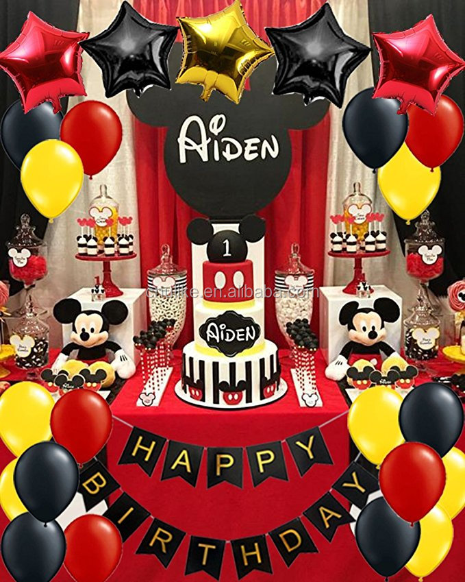 Mickey Mouse Birthday Party Decorations Yellow Red Black Baby Shower Minnie Mouse Party Supplies Set Happy Birthday Banner Buy Mickey Mouse