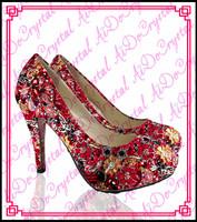 Aidocrysta Unique Design women dress shoes high heels china shoe factory 8cm red bottom low heel wedding shoes