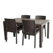 Pedestal Dining Room Outdoor Furniture Rattan Table and Armrest Chair Patio Wicker Table Sets