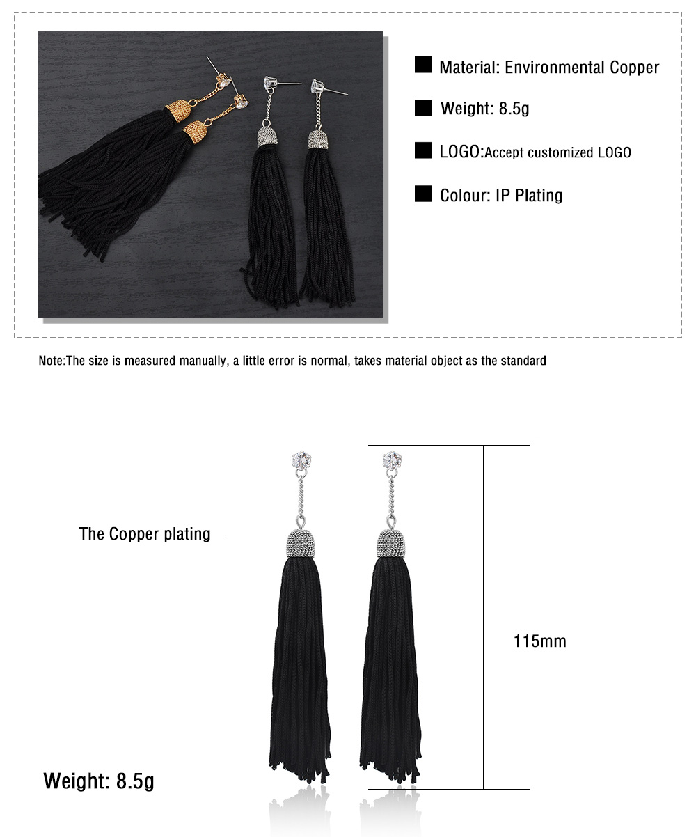 Ladies Silk Thread Tassel Earrings Designs Pictures, Fashion Gold Drop Earrings Jewelry Women