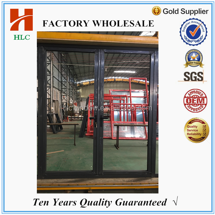 2.0mm aluminium frame double tempered glass swing open door for house
