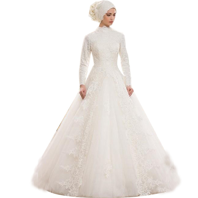 Buy Real Sample Tulle and Lace Muslim Wedding Dresses Long Sleeve ...