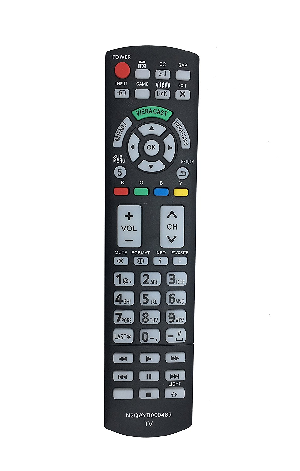 New VINABTY N2QAYB000486 Replacd Remote fit for Panasonic TV TC-L42D30 TC-P42G25 TC-P42GT25 TC-P46G25 TC-46PGT24 TC-P50G20 TC-P50G25 TC-P50GT25 TC-P50VT20 TC-P50VT25 TC-P54G20 TC-P54G25 TC-P54VT25