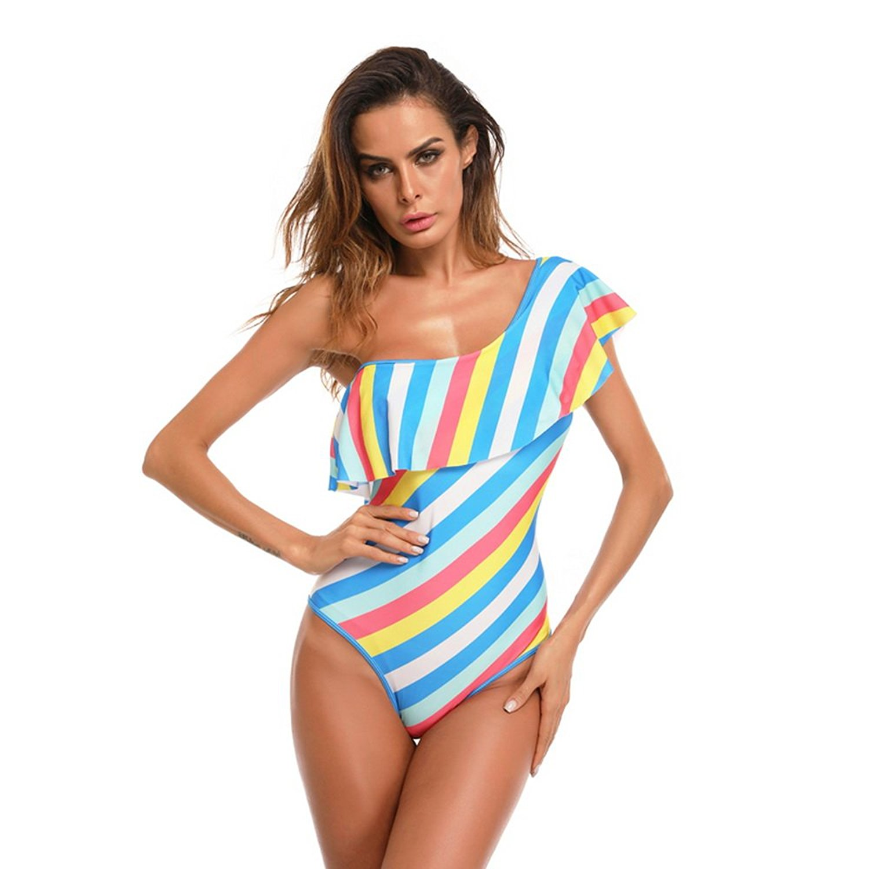 Youthny Women One Piece Off Shoulder Swimsuit Ruffled Beach Bikini Bathing Suit Swimwear