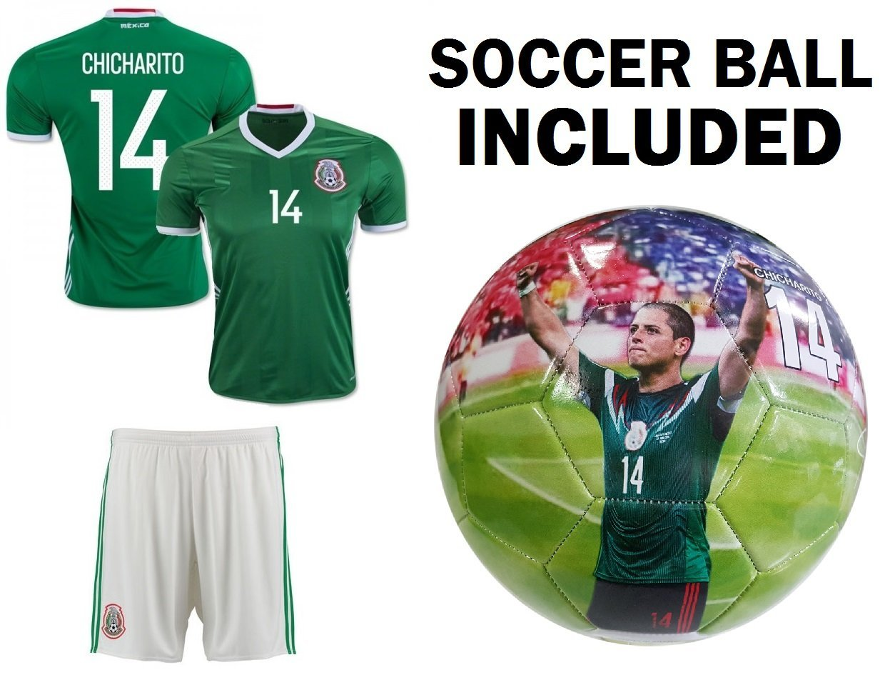 b877024f2cb Get Quotations · Mexico Jersey Youth Chicharito  14 Kids Soccer Jersey +  Shorts + BALL Size 5 Mexico