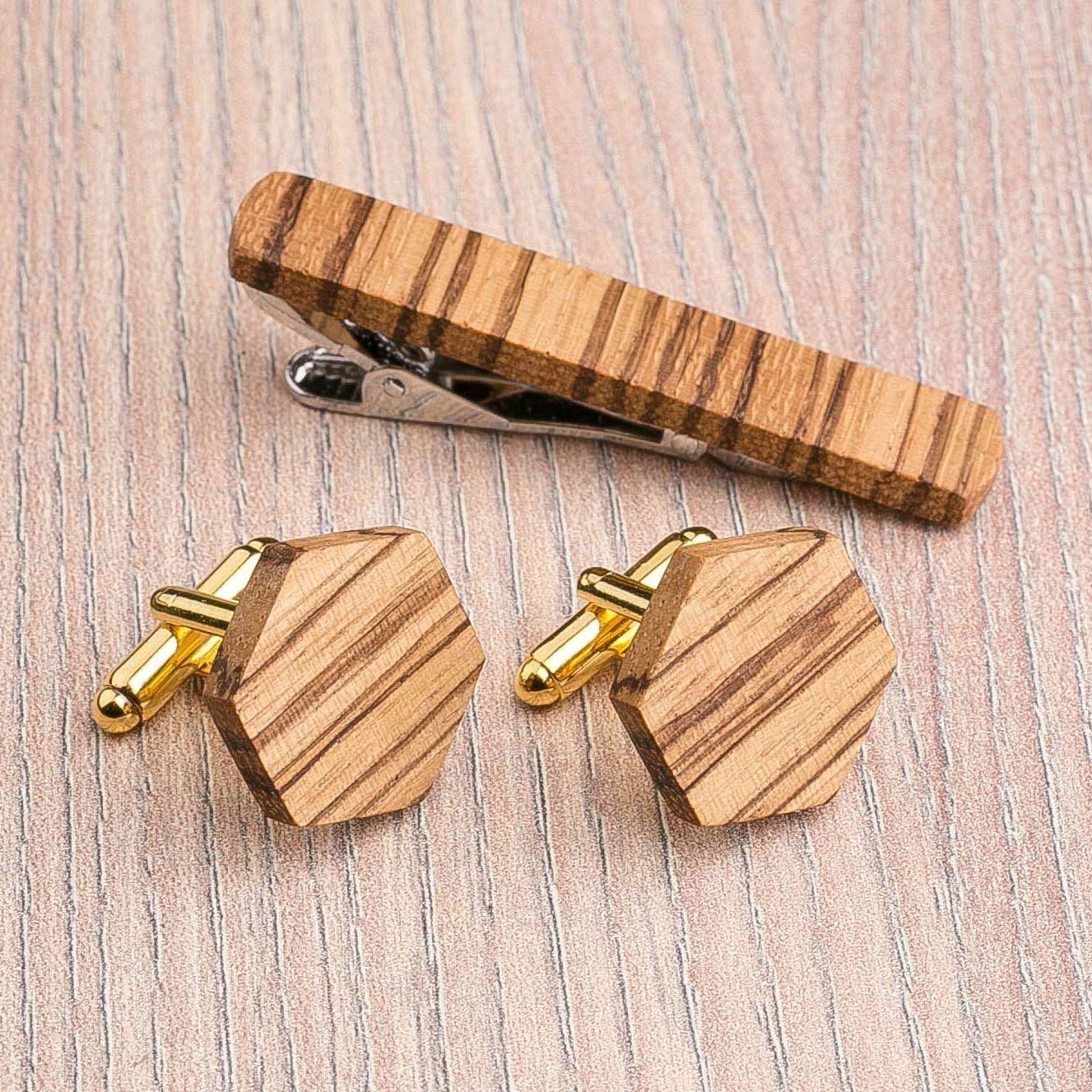 Hexagon Wood Cufflinks and Tie Clip Set. Multicolor Zebrano wood. Custom personalized initial monogram men gift. Engraved jewelry for men. Wedding groomsmen groom gifts. Exclusive Boss gift