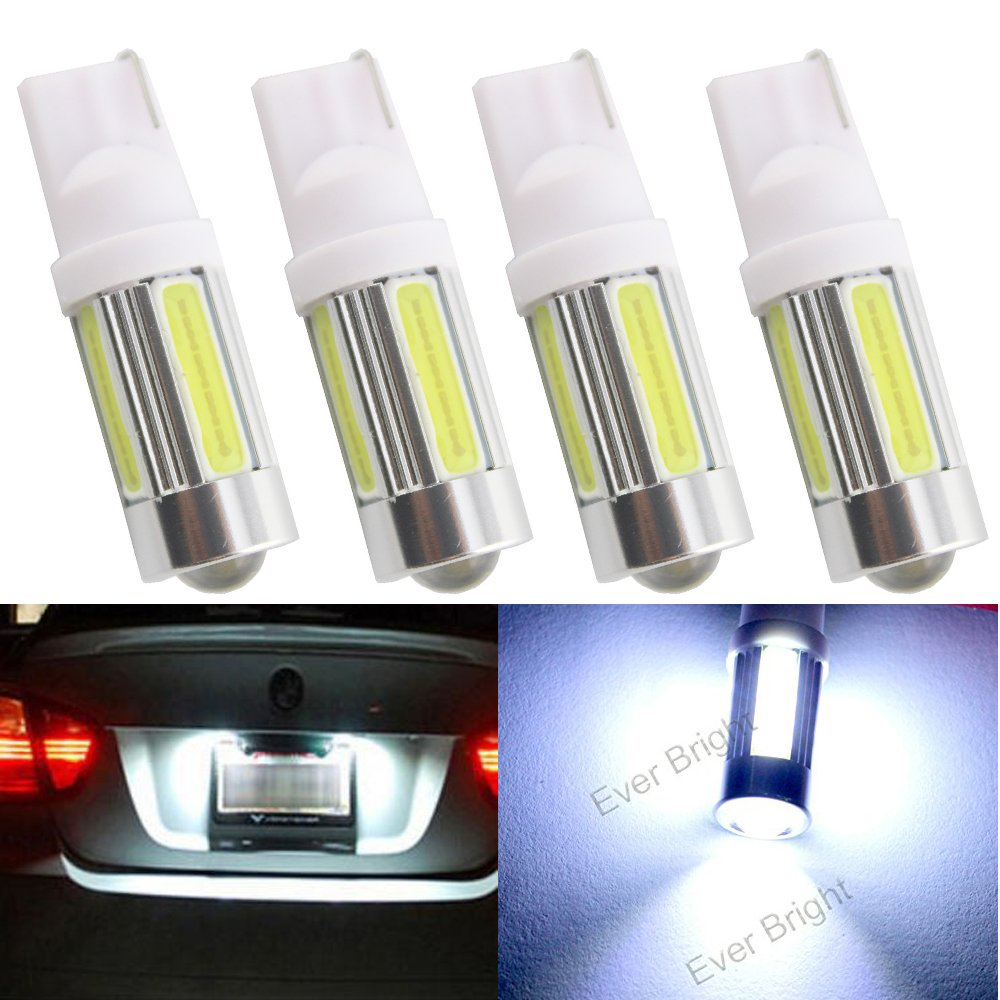 EverBright 4-Pack Auto Car White T10 / 194 / 168 / 921 W5W 5-COB LED Bulb Suitable For Car Replacement Lights Clearance Wedge / License Plate / Instrument Lamp Door / Width / Reading Light Interior Lamp Car Replacement Lights Bulb